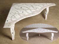 Under the Sea Cocktail Table, Triangle Shape, Cantor Stone/Black Stone/White Ivory Stone