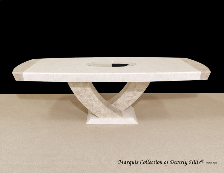Italia Extendable Dining Table, White Ivory Stone with Beige Fossil Stone