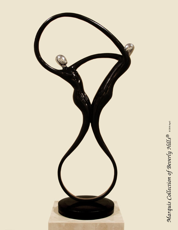 Swing Sculpture - Table Model, Black Stone with Stainless Finish