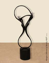 Swing Sculpture, Floor Model, Black Stone with Stainless Finish