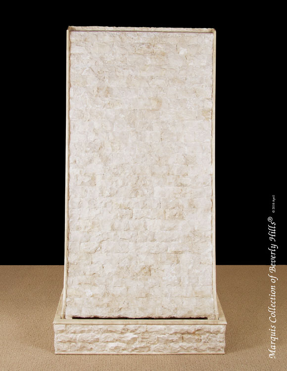 Grand Falls Floor Fountain, Rough/Smooth, Beige Fossil Stone - (Sold with pump)