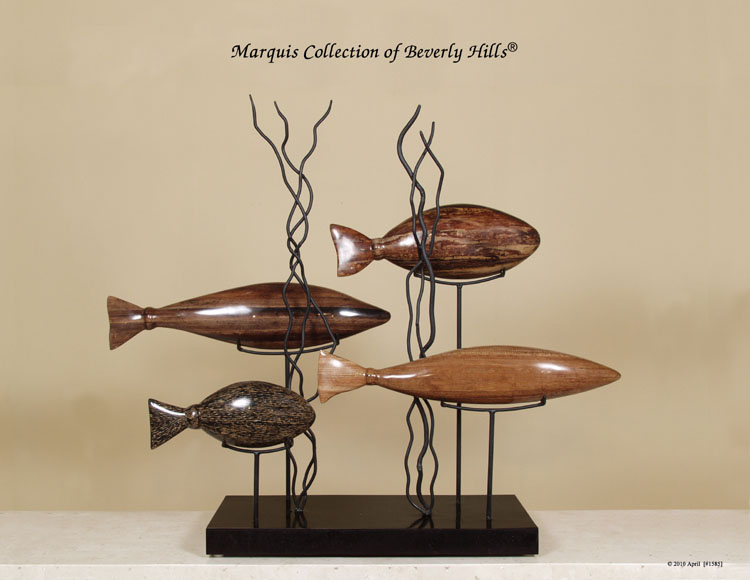 'Aquamarine' 4-Fishes Sculpture, Natural Materials in Black Stone and Iron Stand
