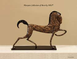 Dynasty Stallion Sculpture, Cotton Husk with Black Stone Finish